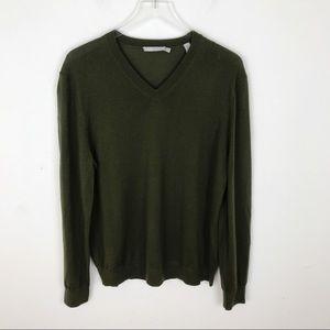 VINCE Merino Wool Forrest Green V-Neck Sweater L
